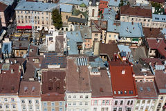Lviv, Ukraine. Beautiful top view with roofs of old european town from the city hall Stock Photos