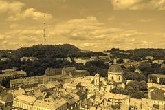 Lviv in Ukraine central district skyline, sepia Stock Photography