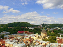 Lviv in Ukraine central district skyline Royalty Free Stock Photography