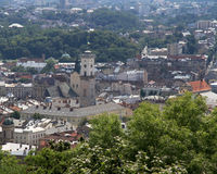 Lviv, Ukraine. Central townscape and town hall. Royalty Free Stock Photo