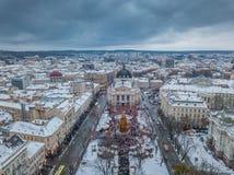 Lviv, Ukraine - 25, December 2018. Arial shot. Lvov Opera house. Christmas tree stock photography