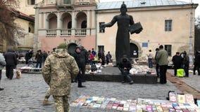 Flea market at the street in the center of Lviv in Ukraine