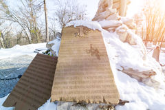 LVIV, UKRAINE - Feb 14, 2017: Old statue on grave 1863 January rebels hill in the Lychakivskyj cemetery of Lviv, Ukraine. Official. Ly State History and Culture Stock Images