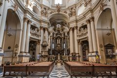 Lviv, UKRAINE, February 27, 2017: interior of the Catholic Cathedral. Lviv, UKRAINE, February 27, 2017: interior of the Dominikanskiy Cathedral in the center of Stock Images