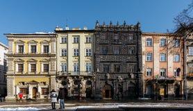 Lviv, Ukraine - February, 2014 - The oldest building in Lviv at Market Square. Bandinelli Palace, Ubaldini and Black Kamenica Royalty Free Stock Image