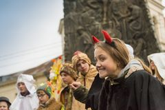 Unknown young actor in role devil plays for the citizens in a Ch
