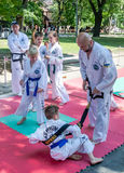 Lviv, Ukraine - July 2015: Yarych street Fest 2015. Demonstration exercise outdoors in the park children and their teacher taekwon. Lviv, Ukraine: Yarych street Stock Photo