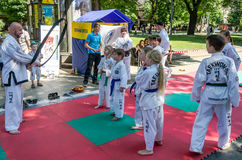 Lviv, Ukraine - July 2015: Yarych street Fest 2015. Demonstration exercise outdoors in the park children and their teacher taekwon Royalty Free Stock Photo