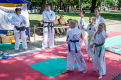 Lviv, Ukraine - July 2015: Yarych street Fest 2015. Demonstration exercise outdoors in the park children and their teacher taekwon. Lviv, Ukraine: Yarych street Stock Images