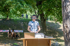 Lviv, Ukraine - July 2015: Yarych street Fest 2015. DJ plays his music at the festival Royalty Free Stock Images