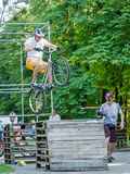 Lviv, Ukraine - July 2015: Yarych street Fest 2015. Extreme jumping on a BMX bike and perform stunts in the air Stock Photo