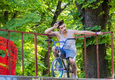 Lviv, Ukraine - July 2015: Yarych street Fest 2015. Extreme jumping on a BMX bike and perform stunts in the air Royalty Free Stock Images