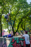 Lviv, Ukraine - July 2015: Yarych street Fest 2015. Extreme jumping on a BMX bike and perform stunts in the air Royalty Free Stock Photos