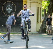 Lviv, Ukraine - July 2015: Yarych street Fest 2015. Extreme jumping on a BMX bike and perform stunts in the air Royalty Free Stock Image
