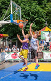 Lviv, Ukraine - July 2015: Yarych street Fest 2015. Street basketball competition at the festival near Lviv Opera House. Players f Stock Image