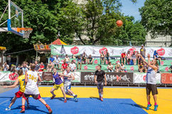 Lviv, Ukraine - July 2015: Yarych street Fest 2015. Street basketball competition at the festival near Lviv Opera House. Players f Stock Images