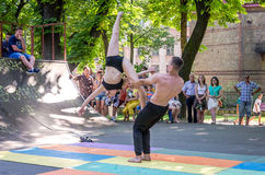 Lviv, Ukraine - July 2015: Yarych street Fest 2015. Two dancers perform at the festival of extreme sports to the audience Stock Photo