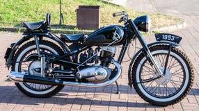 Lviv, Ukraine - June 2015: Auto festival Leopolis grand prix 2015. Old vintage retro motorcycle IZ Royalty Free Stock Image