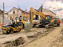 Overhaul of the road in Lychakivska Street in Lviv Stock Image