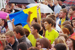 LVIV, UKRAINE - JUNE 9, 2012:  emotional football fans Euro-2012 Royalty Free Stock Images