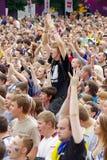 LVIV, UKRAINE - JUNE 9, 2012:  emotional football fans Euro-2012 Royalty Free Stock Photos