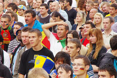 LVIV, UKRAINE - JUNE 9, 2012:  football fans in Lviv city Royalty Free Stock Photos