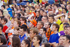 LVIV, UKRAINE - JUNE 9, 2012:  football fans in the Lviv Stock Photography