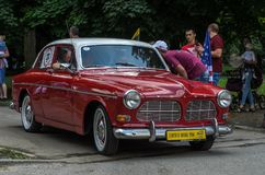 LVIV, UKRAINE - JUNE 2018: Old vintage retro Volvo car rides through the streets of the city. Old vintage retro Volvo car rides through the streets of the city royalty free stock images