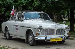LVIV, UKRAINE - JUNE 2018: Old vintage retro Volvo car rides through the streets of the city. Old vintage retro Volvo car rides through the streets of the city Royalty Free Stock Photos