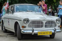 LVIV, UKRAINE - JUNE 2018: Old vintage retro Volvo car rides through the streets of the city. Old vintage retro Volvo car rides through the streets of the city Stock Image
