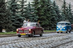 LVIV, UKRAINE - JUNE 2018: Old vintage retro Volvo car rides through the streets of the city. Old vintage retro Volvo car rides through the streets of the city Royalty Free Stock Image