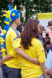 LVIV, UKRAINE - JUNE 9, 2012: UKRAINE emotional football fans Euro-2012 Royalty Free Stock Images