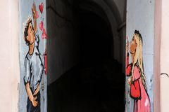 Lviv, UKRAINE, le 27 février 2017 : graffiti à Lviv Photos libres de droits