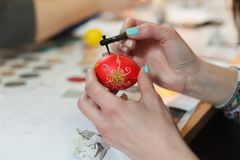 Lviv, UKRAINE - March 11, 2018. Ukrainian Easter Eggs Painting Workshop. Traditionally, before Easter for centuries Ukrainian painted eggs Stock Image