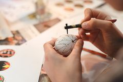 Lviv, UKRAINE - March 11, 2018. Ukrainian Easter Eggs Painting Workshop. Traditionally, before Easter for centuries Ukrainian painted eggs Stock Images
