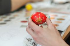 Lviv, UKRAINE - March 11, 2018. Ukrainian Easter Eggs Painting Workshop. Traditionally, before Easter for centuries Ukrainian painted eggs Stock Photography
