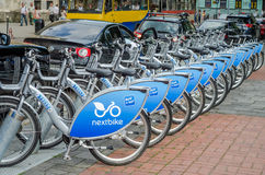 LVIV, UKRAINE - MAY 2016: Bicycle with bicycles standing in the parking lot for the company Nextbike on the street in Lviv Royalty Free Stock Photos