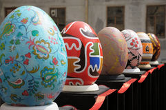 LVIV, UKRAINE - May 02: Big fake Easter eggs at the festival of Stock Photo