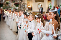 LVIV, UKRAINE - MAY 8, 2016: The ceremony of a First Communion i Royalty Free Stock Photography