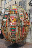 LVIV, UKRAINE, MAY 2 2014 - Decorative Easter egg made of carpet Royalty Free Stock Photo