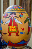 LVIV, UKRAINE - MAY 2016: Huge colored eggs Pysanka egg with different traditional designs and patterns on religious themes on the Royalty Free Stock Images