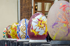 LVIV, UKRAINE - MAY 2016: Huge colored eggs Pysanka egg with different traditional designs and patterns on religious themes on the Royalty Free Stock Photos