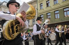 LVIV, UKRAINE - MAY 2018: The musical orchestra performs at an exhibition concert during a parade in the center of the city. The musical orchestra performs at an Stock Images