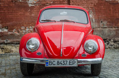 LVIV, UKRAINE - MAY 2017: Old vintage red retro car Royalty Free Stock Photos