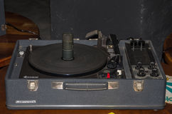 LVIV, UKRAINE - MAY 2017: Old vintage retro vinyl record player stock images