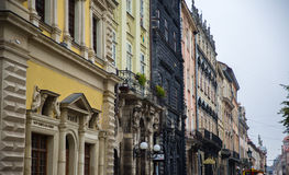 LVIV, UKRAINE Morning streets and houses Royalty Free Stock Image
