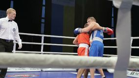 LVIV, UKRAINE - November 14, 2017 Boxing tournament. Midweight boxers fight in boxing ring on tournament. Steadycam shot stock video