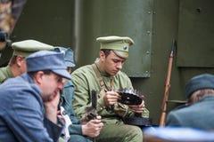 Lviv, Ukraine - November 2, 2018: 100th anniversary of West Ukrainian People`s Republic. ZUNR. Ukrainian Sich Riflemen. Lviv, Ukraine - November 2, 2018: 100th royalty free stock photos