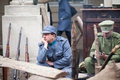 Lviv, Ukraine - November 2, 2018: 100th anniversary of West Ukrainian People`s Republic. ZUNR. Ukrainian Sich Riflemen stock photo