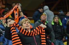 LVIV, UKRAINE - OCT 20: Fans celebrating a goal Shakhtar during Royalty Free Stock Image